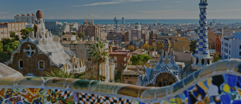 Barcelona skyline from Gaudi's park